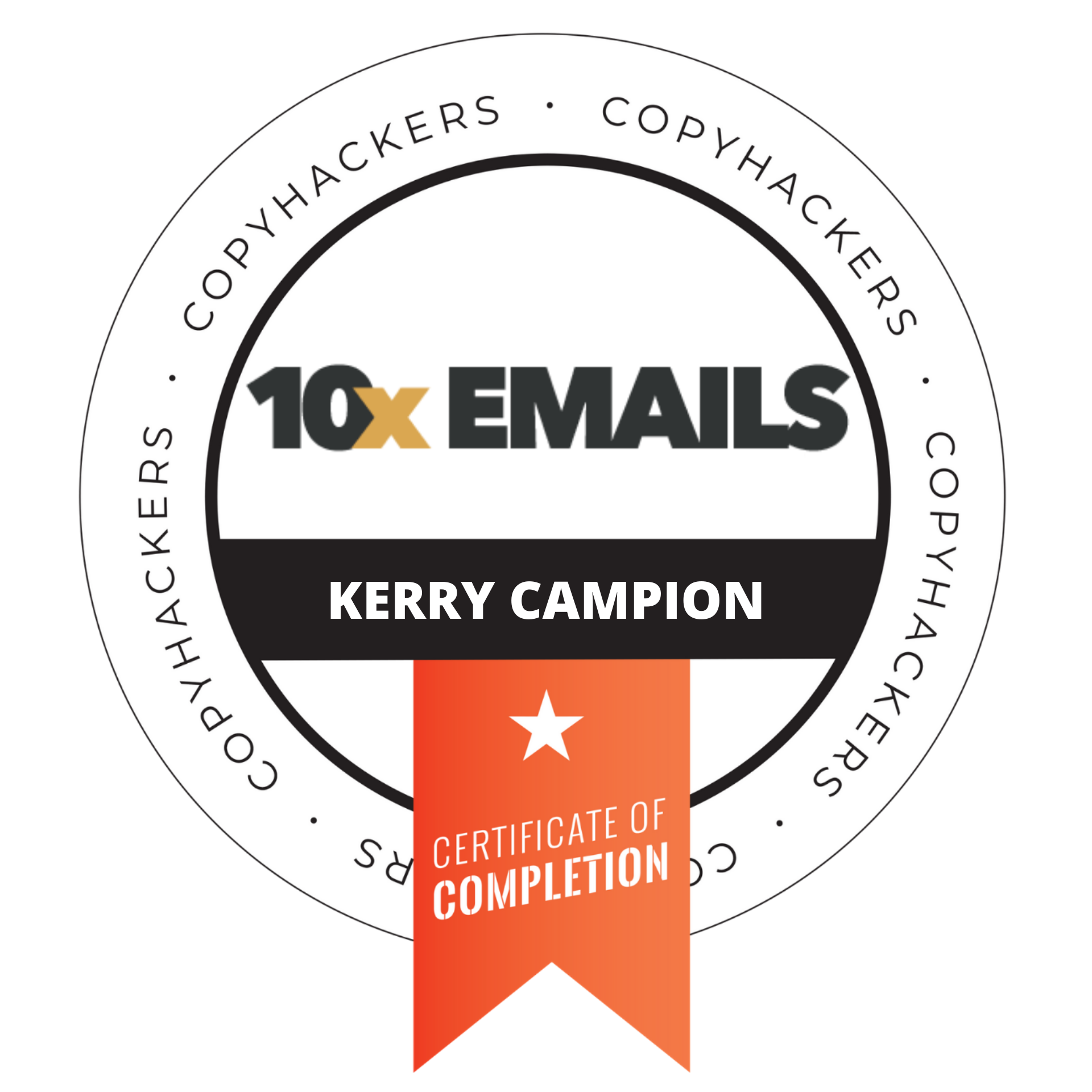 Copyhackers 10x email badge certification