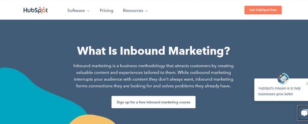 screenshot of hubspots cornerstone content related to inbound marketing
