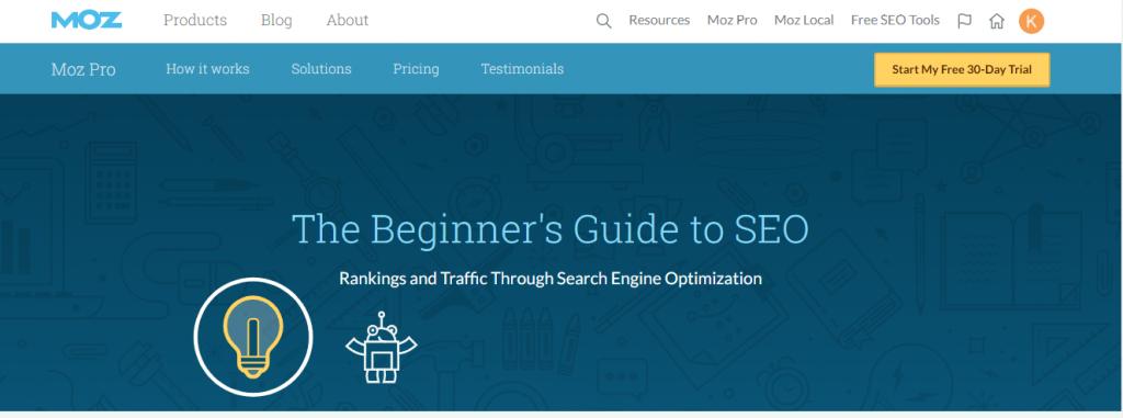 screenshot of moz cornerstone content piece about seo beginner guide